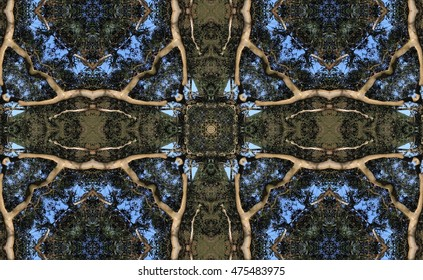 symmetrical composition, kaleidoscopic, mirror effect,geometric composition, of the tree of good and evil,  idyllic plant allegory, mandala, abstract surreal photography, abstract naturalism,