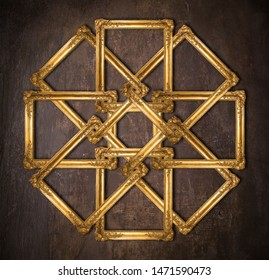 Symmetrical composition made with ancient gold picture frames, clipping path is available.