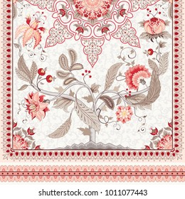 Symmetrical design for the cover. Beautiful Indian round pattern. Motives of vintage Indian fabrics with Tree of Life.
