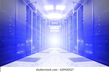 symmetrical futuristic modern server room in the data center with a bright light