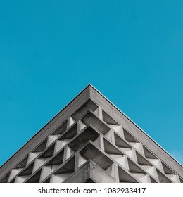 Symmetrical image of brutalist building in Cologne, Germany.