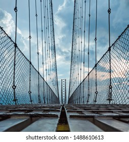 symmetrical image of longest suspension bridge in Nepal over Chisapani from low angle