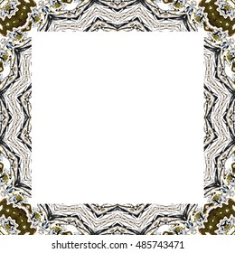 Symmetrical melting colorful kaleidoscopic frame with a white inner background