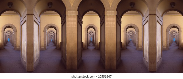 Symmetrical montage from parts of gallery, Florence, Italy