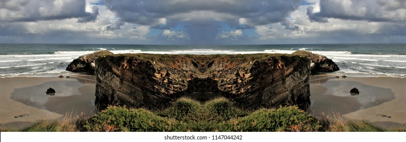 symmetrical and panoramic photographs of seascapes, with waves of the sea, Catedrales beach, lugo, Galicia, Spain, natural monument,