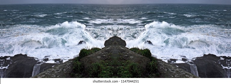 symmetrical and panoramic photographs of seascapes, with waves of the sea, A Frouxeira cape, A Coruña, Galicia, Spain, waves breaking,