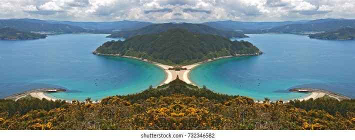 symmetrical photograph of beach of the North of Galicia, Bares, Spain,