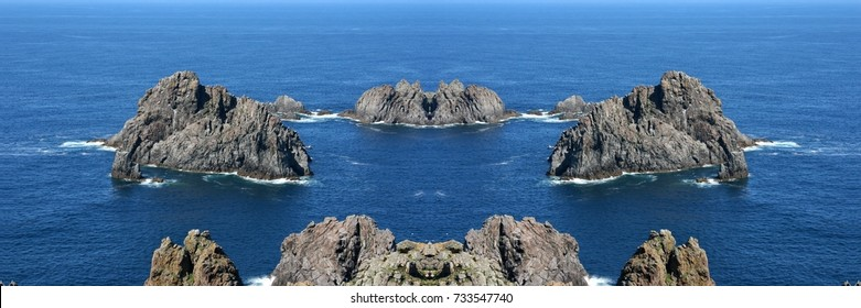 symmetrical photograph of cliffs of Cabo Ortegal and Los Aguillons, A Coruna, Galicia, Spain,