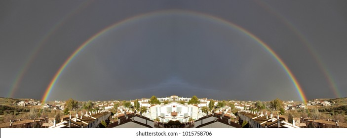 symmetrical photograph of rainbow allegory of the union between heaven and earth, allegory of the gay movement, allegory of good luck, visual allegories, visual metaphors, photographic allegories,