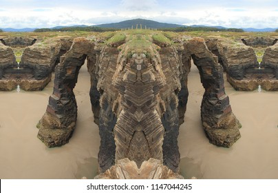 symmetrical  photographs of seascapes, with waves of the sea, Catedrales beach, lugo, Galicia, Spain, natural monument,