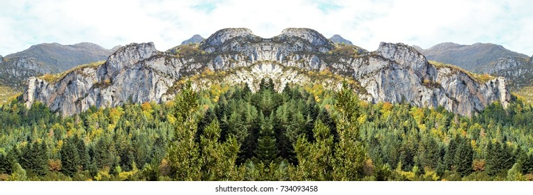 symmetrical photography of Bujaruelo Valley, Ordesa and Monte Perdido national park, Huesca, Aragon, Spain,