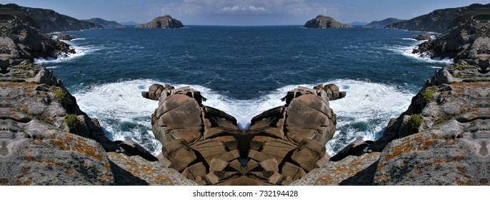 symmetrical photography of cliffs of Lugo, Galicia, Spain,