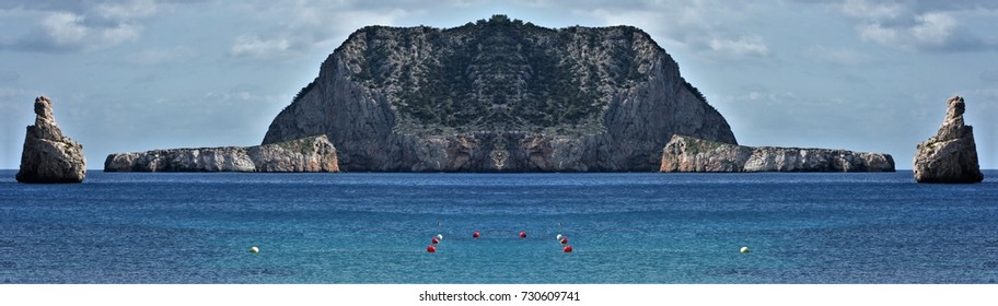 symmetrical photography of the coast of the island of Ibiza, Balearic Islands, Spain,