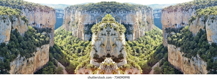 symmetrical photography of the Foz de Arbayun, Navarra, Spain,