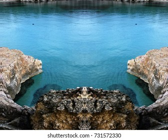 symmetrical photography of Ibiza coast, turquoise blue sea, transparent waters, Balearic Islands, Spain