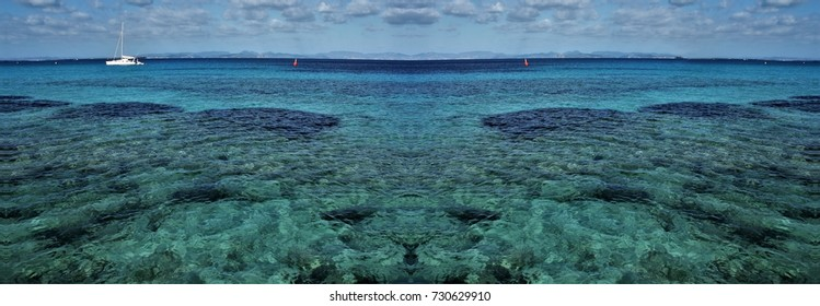 symmetrical photography of the island of Formentera, Ibiza, Balearic Islands, Spain,