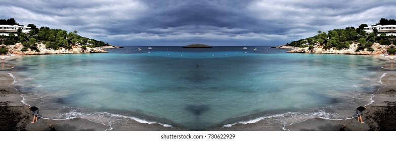 symmetrical photography of the island of Ibiza, Balearic Islands, Spain,