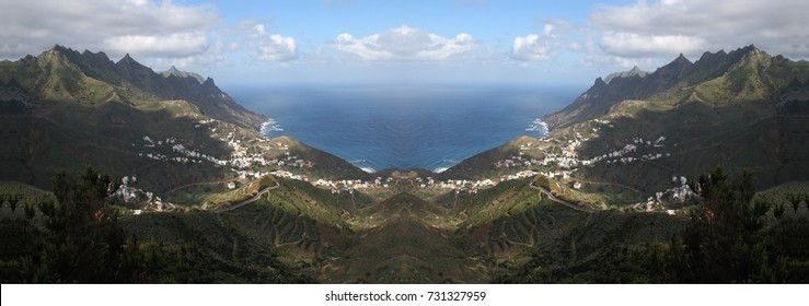 symmetrical photography of the island of Tenerife, area of Taganana, spain,