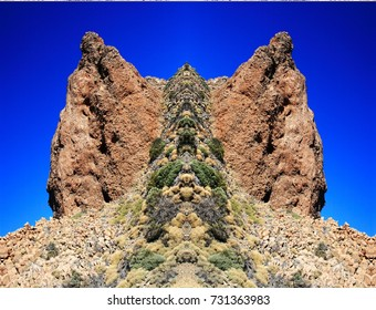 symmetrical photography of the island of Tenerife, Las Cañadas del Teide National Park, Spain,