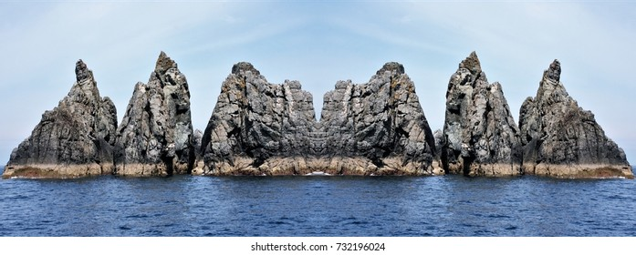 symmetrical photography of marine landscapes on the coast of Galicia, Spain