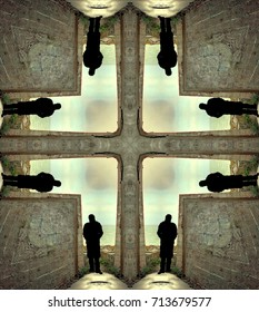 symmetrical photography of a person