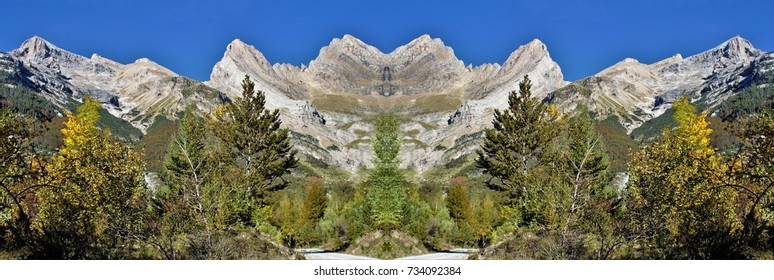 symmetrical photography of the Pineta Valley, Ordesa and Monte Perdido National Park, Huesca, Aragon, Spain,