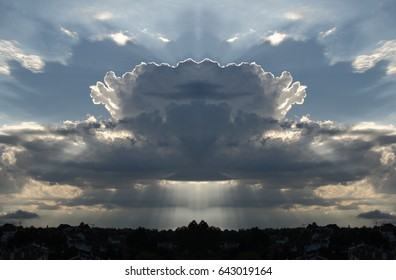 Symmetrical photography of storm clouds cottony, Photography Clouds, Clouds backlit with sun rays coming out, blue sky, storm clouds, cottony,peace, calm, serenity, harmony, fullness, well-being,
