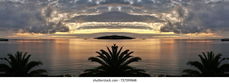 symmetrical photography of sunrise in Ibiza, sunset, spring, background, flowers, flower, nature, floral, garden, summer, beautiful, landscape, pink, blossom, white, tree, green, sun, field, season,