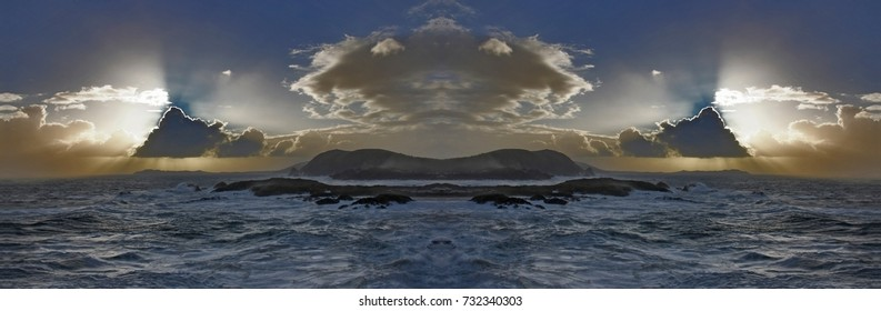 symmetrical photography of sunset in the sea, Galicia, Spain,