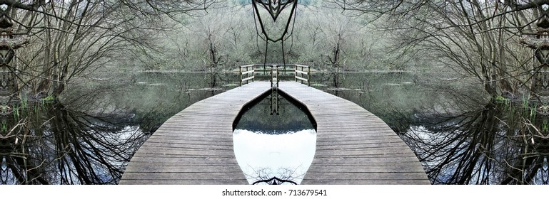 symmetrical photography of a wood roads on the water