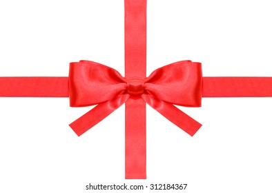 symmetrical red bow with square cut ends on intersection of two red satin ribbons isolated on white background