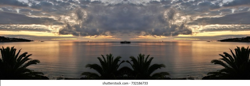 symmetrical sunrise photography in Ibiza, sunset, Balearic Islands, Spain,