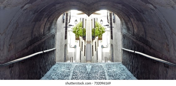 symmetrical tunnel photograph in the city of Toledo, Spain,