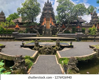 Symmetrical View of Temple Inside Ubud Palace in Bali, Indonesia