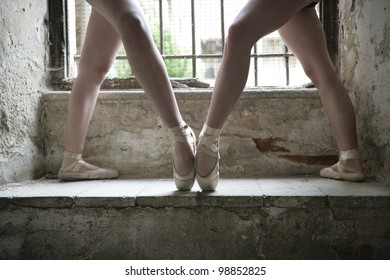 symmetricall shoot of two dancers legs,room for text