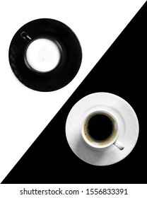 Symmetry with cups of coffee and milk. Black coffee in white cup and milk in black cup. Black and white symmetry background.