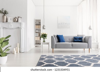Symmetry in design of luxury new york style living room with elegant grey couch white furniture and patterned carpet,