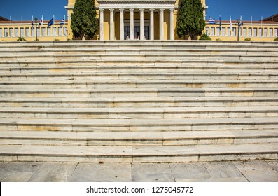 symmetry marble European architecture palace with white stairs on foreground