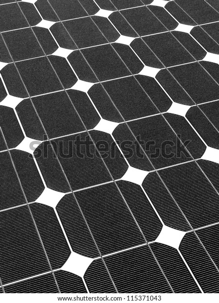 Simetría del panel solar en blanco y negro