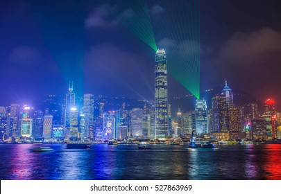 Symphony city of life at Victoria Harbor in HONG KONG night.