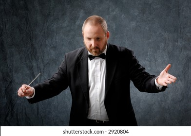 Symphony conductor directing wit a baton.