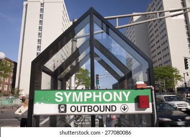 Symphony Hall Train stop sign and station, Boston, MA