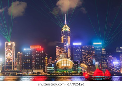 Symphony light and sound city of life at Victoria Harbor in HONG KONG night.
