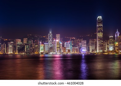 Symphony of lights in Hong Kong China from Kowloon side across from Victor Harbor