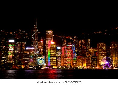 Symphony of lights in Hongkong China from Kowloon side across from Victor Harbor