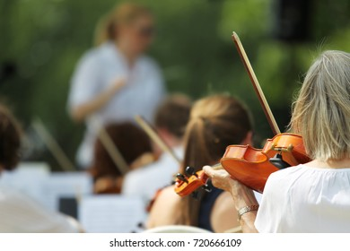 Symphony Orchestra Play in Open Place in Summer