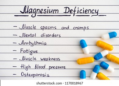Symptoms of Magnesium Deficiency with some pills. Close-up.