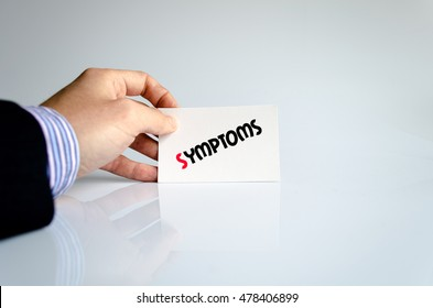 Symptoms text concept isolated over white background