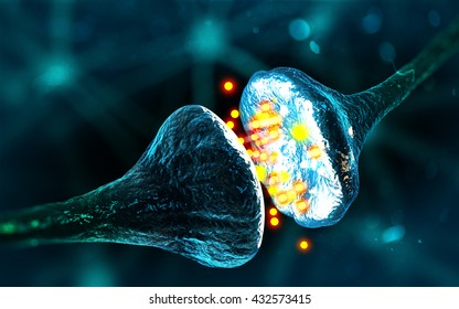 Synapse and Neuron cells sending electrical chemical signals (3D illustration)