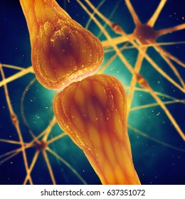 Synaptic transmission is the biological process by which neurotransmitters are released by a neuron and activate the receptors of another neuron or cell , Brain nerve cell synapse , 3d illustration